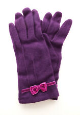 Ladies Wool Gloves PURPLE with PINK Velour Bow Detail