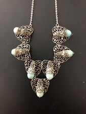 Antique Silver Filigree And Turquoise Necklace