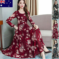 Fashion Casual Womens O-Neck Long Sleeve Long Dresses Printed Slim A-Line Dress