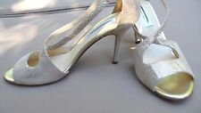 Retail $350 Saks Fifth Avenue Gold Peep-Toe Crisscross Leather Sandals Sz 9B