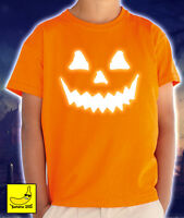 Halloween Pumpkin Face T-Shirt Glow Scary Horror Spooky Pumpkin Costume Dead Tee