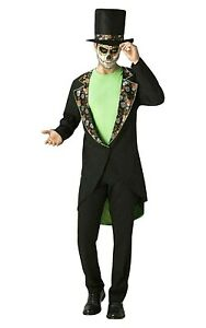 Mens Day Of The Dead Costume Mexican Skeleton Adult Halloween Fancy Dress Outfit