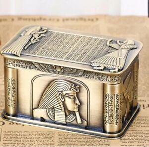 Gold Mystical Egyptian Styled Metal Trinket Jewellry Box With Ornate Images