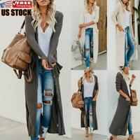 Women's Casual Knitted Sweater Open Front Pocket Coat Long Cardigan Tops Jacket