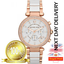 GENUINE LADIES MICHAEL KORS MK5774 WHITE ROSE GOLD CHRONO PARKER WOMENS WATCH