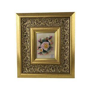 Capodimonte Porcelain Flowers Vintage Framed Wall Plaque Picture 3D 10'' - VGC