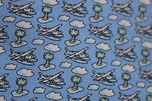 Vineyard Vines Boys Silk Blue Sea Plane Palm Tree Island Cloud Neck Tie 3.25x51