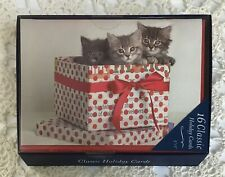 Boxed Christmas Cards Kittens NEW 16 Count w/ Envelopes Markings by C R Gibson