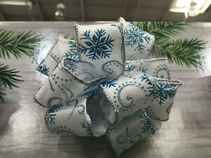Luxury Wired - Edged RIBBON White Silver with Sparkly Blue Snowflakes