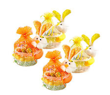 4x Weide Osterkorb mit Häschen Osternest Korb Ostern Deko Geschenk Körbe Hase