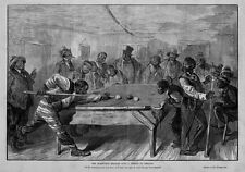 NEGRO BILLIARDS THE BLACKVILLE BILLIARDS CLUB NEGROES PLAYING POOL CUE CHALK