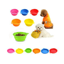 """New Collapsible Silicone Dog Pet Cat Travel Camping Food Bowl Dish Feeder 5.12"""""""