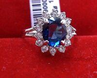 Promotions spéciales! Cadeaux de Noël,cristal bleu facette zircon  Bague ,57#