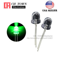 50pcs 8mm Led Diodes Green Light Emitting Water Clear Round Top Transparent USA