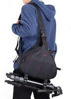 DSLR SLR Digital Sling Camera Case Shoulder Bag Backpack For Nikon Canon Black