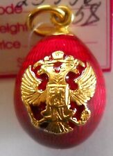 Russian  Faberge Egg Pendant DOUBLE- HEADED EAGLE Red Silver/Gold