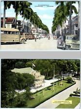 2 Postcards PARAMARIBO, SURINAME ~ Street Scene MAAGDENSTRAAT Gouvernementshuis
