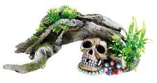 Classic Aquarium Wood with Skull & Plants Ornament Fish Tank Decoration