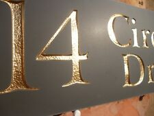 "Quality Slate House Sign 12"" X 4"" Any Name / Number GOLD LETTERING"