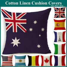 Australian UK USA Flag Heavy Duty Natural Linen Cushion Cover Pillow Case Decor