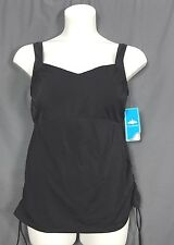 plus size aquabelle xtra life swim swimsuit drawstring side Tankini TOP 18 blk s