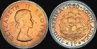 1960 SOUTH AFRICA 1 PENNY BU UNCIRCULATED CIRCLE COLOR TONED COIN IN HIGH GRADE
