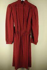 Vintage Ms. Chaus Femmes Rouge et Noir Géométrique 21.3ms ROBE TAILLE S/M S M