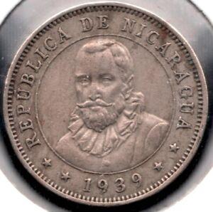 1939 Nicaragau - 25 Centimos Coin - Superfleas - High Grade