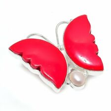 Butterfly - Coral, Pearl Silver Fashion Jewelry Ring Size Adjustable SR3366