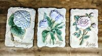 Flower Ceramic Art Tile Plaque Home Decor Gift Sign set