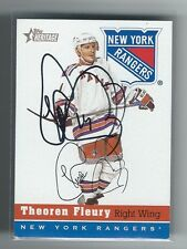 Theo Theoren Fleury Signed 2000/01 Topps Heritage Card #67