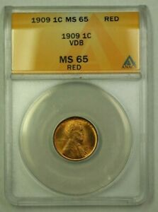 1909 VDB Lincoln Wheat Cent 1c ANACS MS-65 Red (C) (WW)