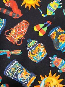 "ESTATE SALE FABRIC 2.5 Yards X 45""  Multi Color Cotton  ""Mexican Pottery"""
