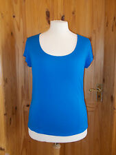 JAEGER cobalt electric blue stretch short sleeve tunic top t-shirt L 14-16 42 44