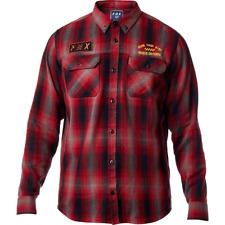 Fox Racing Mens Gorman Overshirt Long Sleeve Flannel Dark Red MX ATV Off Road