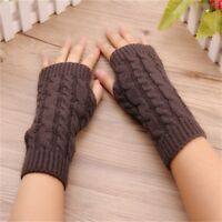 Winter Warm Fingerless Work Gloves Knitted Mitten Half-finger Computer Gloves