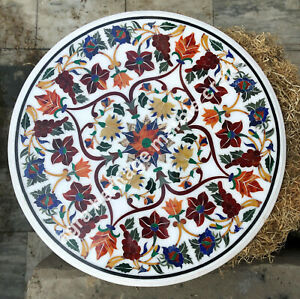 """24"""" Round Marble Coffee Table Top Carnelian Inlay Marquetry Mosaic Gifts"""