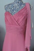 Riviera Pink Chiffon Ruffle Single Shoulder Floor Length Evening Dress UK 16