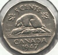 1947 DOT - Canadian 5 cent Beaver Nickel - George VI - Superfleas -