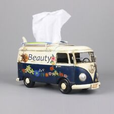 Flower Bus Model Figurines Retro Car Tissue Box Home Ornaments Crafts Vintage