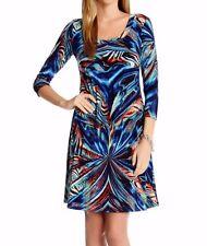 Karen Kane 2L29119 Gold-Multi Reflection Print Stretch Maxi Dress $128 M