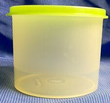 "New Tupperware Clear Mini Canister With Green Lid 2 Cup 3 1/2""high 4 1/2"" Wide"