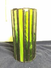 """6"""" Tall Green Handmade Stained Glass Pillar Candle Covers"""
