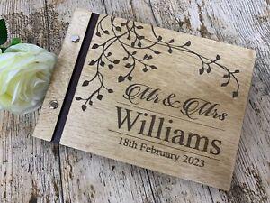 Personalised Wedding Guest Book Scrapbook Album Wooden