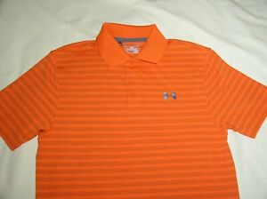 NWT UNDER ARMOUR Golf Polo Shirt,Small,Orange+Gray Stripes,HEAT GEAR,Callaway