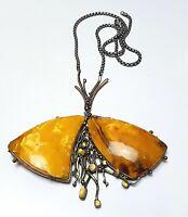 Mondänes Bernstein Collier Butterscotch real Amber - 925 Silberkette - F 894