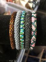 5 SET Nepal Rolls Glass Beaded bracelet crochet handmade bead bangle USA Exact