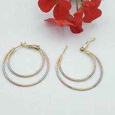 Tri-Color Gold Plated Hoop Earrings Beautiful Design. Arracadas Oro Laminado