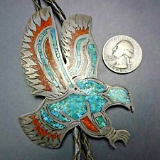 Vintage NAVAJO Sterling Silver TURQUOISE and CORAL Chip Inlay EAGLE BOLO Tie