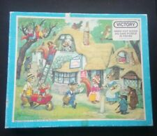 Vtg. Victory (Animals/Village Scene) 30 Pcs. Wood Jigsaw Puzzle - Acc. Condition